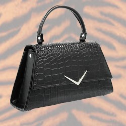 Black Crocodile Handbag -...